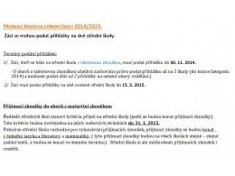 Přihlášky na střední školy - Přijímací zkoušky 2014/2015